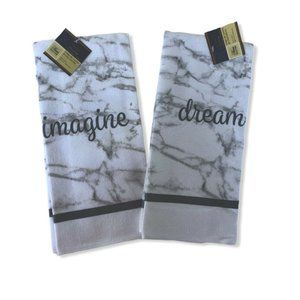 Kitchen Towels Dream Imagine White Gray Marble